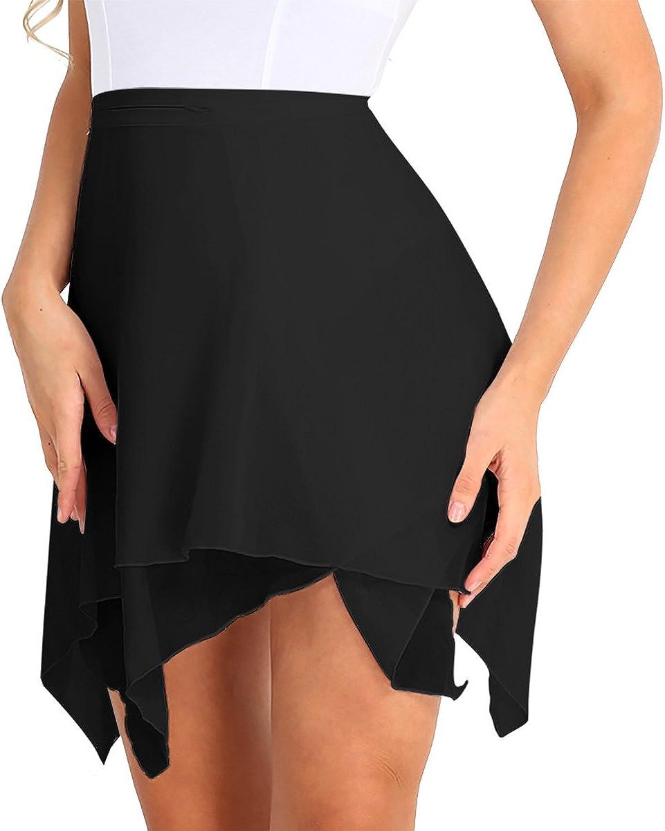 YiZYiF Women's Chiffon Irregular Ballet Skirt Warp Skate Over Scarf Dress