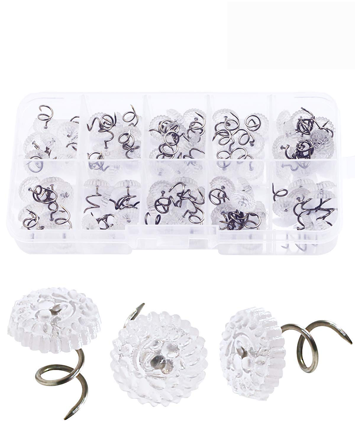 SBYURE 100 Pcs Clear Heads Twist Pins  Keeping Upholstery, Slipcovers Bedskirts in Place (Plastic Contain Box)