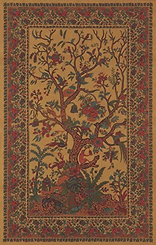 India Arts Absolutely Stunning Golden Tree of Life Tapestry Wall Hanging Tablecloth Throw Coverlet Bedspread Furniture Cover Room Divider – Twin