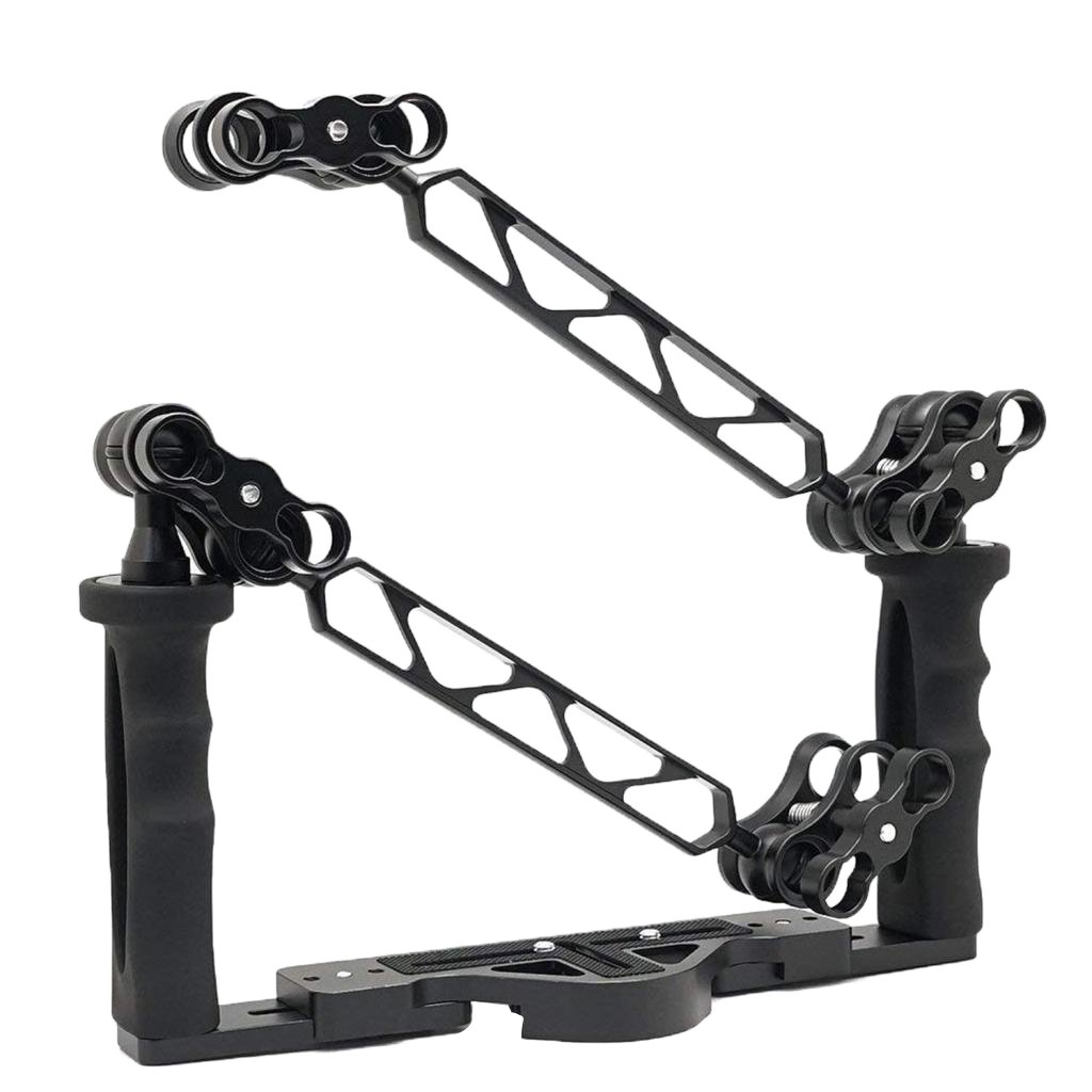 """Homyl Camera Dive Universal Underwater Video Stabilizer Tray for any Housing with 1/4""""-20 Threaded Holes ,Include Underwater Stabilizer, 2 Pieces 8"""" Double One Inch Ball Arm, 4 Pieces 1"""" Ball Clamp"""