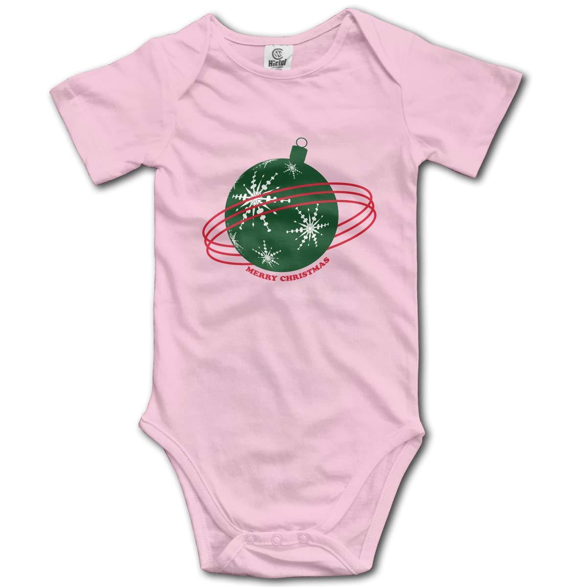 Merry Christmas Bell Decoration Gift Boys /& Girls Black Short Sleeve Romper Bodysuits for 0-24 Months