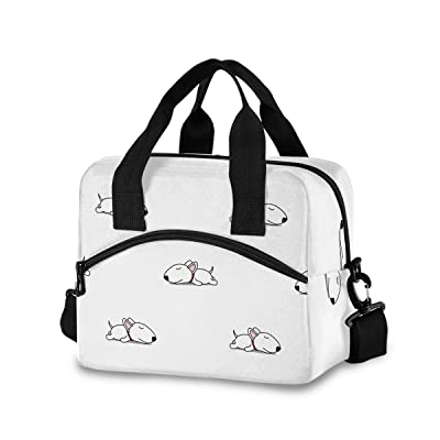 Cute Bull Terrier Puppy Lunch Bag for Women Men Insulated Lunch Box Tote Bag with Detachable Shoulder Strap & Carry Handle, Reusable Cooler Bag for Work School Picnic: Kitchen & Dining