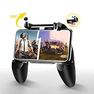 Mobile Game Controller for PUBG/Fortnite, Fiyapoo L1R1 Trigger Gamepad Compatible for iPhone iOS Android, Sensitive Shoot and Aim Joysticks Gaming Grip