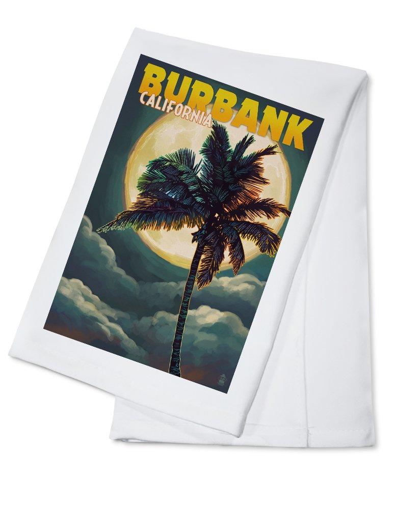 バーバンク、カリフォルニア – 手のひらと月 Cotton Towel LANT-51543-TL B0184BU5OC  Cotton Towel