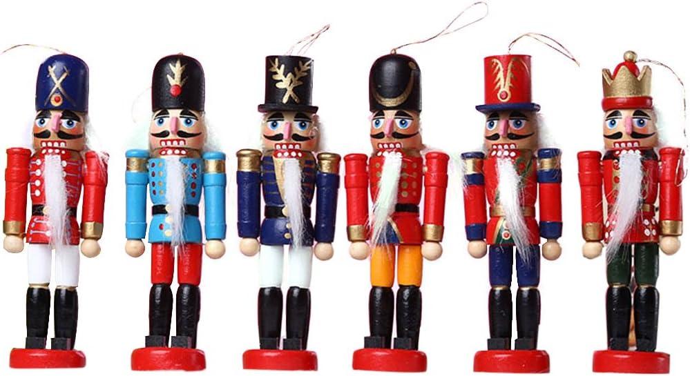 GerFogoo Lot de 5 marionnettes en bois avec motif casse-noisette Motif noyer