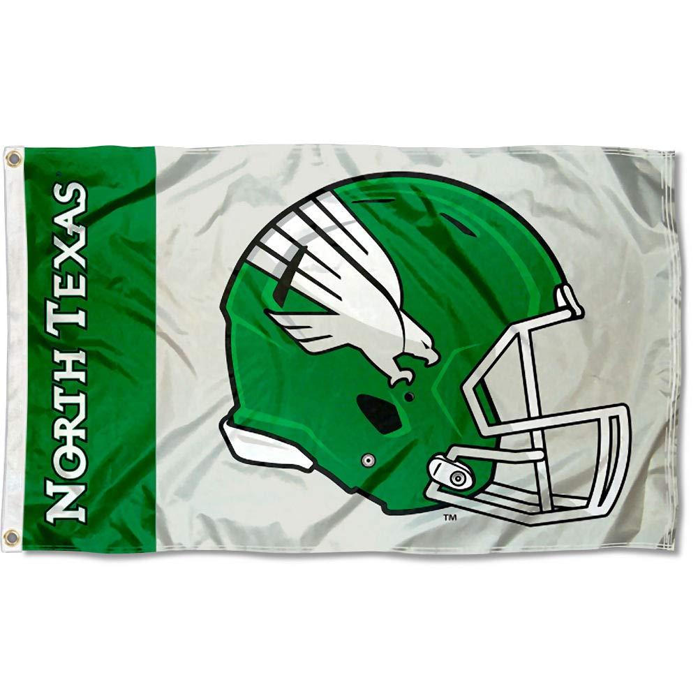 カレッジフラッグとバナーズ Co. ノーステキサスミーングリーン フットボールヘルメットフラッグ