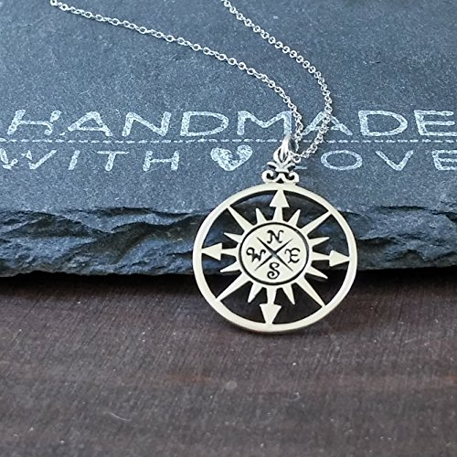 """Sterling Silver Compass Rose Pendant Necklace, 20"""""""