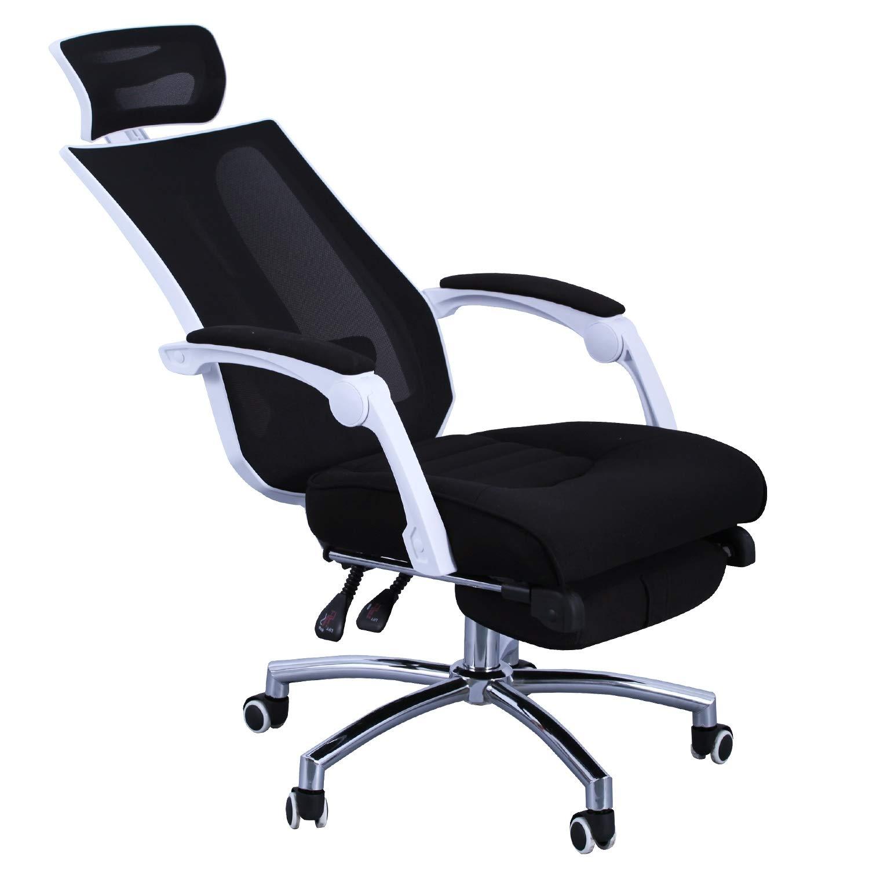 Duhome Sedia per ufficio funzione sedia a sdraio nero tessuto rete poltrona da direttore con l'appoggiacapo ergonomica meccanismo di inclinazione appoggiapiedi allungabile sedia girevole 395