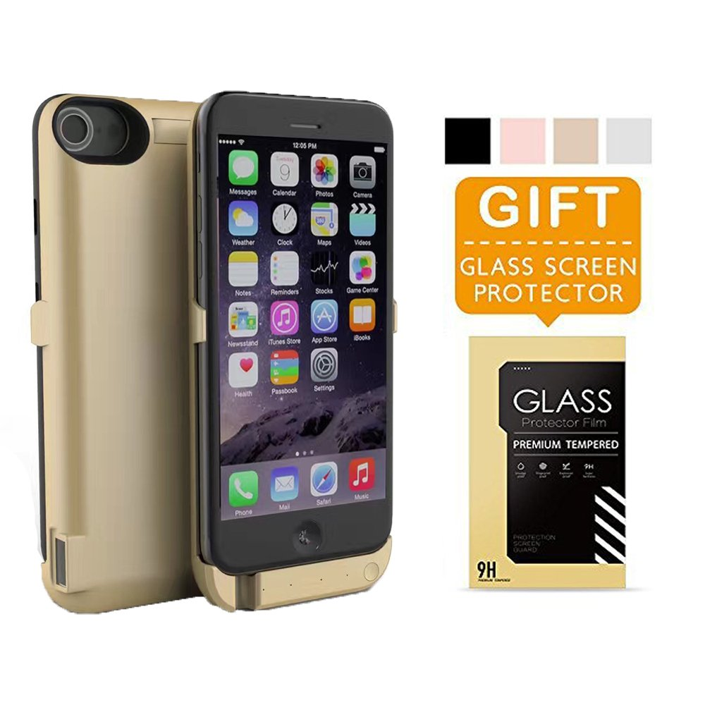 iPhone 7 Plus Battery Case Pack, Portable Charging Case 10000mAh External Battery Back Up Power Bank, Slim Rechargeable Portable Fast Charger, High Capacity Protective Cover (Gold)