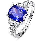 BONLAVIE 4.8ct Cushion Cut Created Blue Tanzanite Wedding Band Anniversary Engagement Ring 925 Sterling Silver