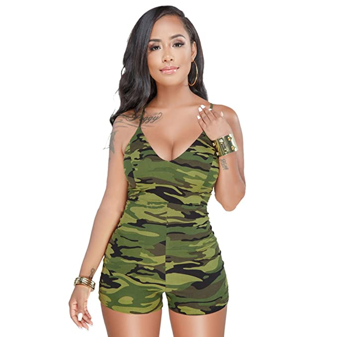 62d3a1990e744 PINLI Sexy Womens Camouflage Jumpsuit V Neck Sleeveless Slim Fit Casual  Romper Bodysuit S