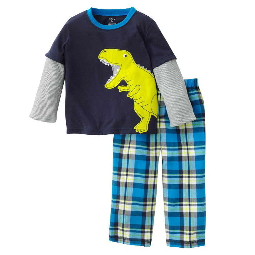 Carter/'s Carters Boys 2 Pc Jersey Pjs Set Dinosaur Plaid 6 months
