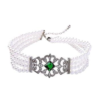 J.MeMi'S Alloy Rhinestone Pearl Collar Choker Necklaces Multilayer Emerald Flower for Women Valentines Gift OQaV0QBp7