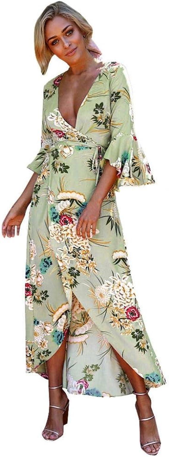 Kolylong® Kleid Damen Frauen Elegant V-Ausschnitt Blumenmuster