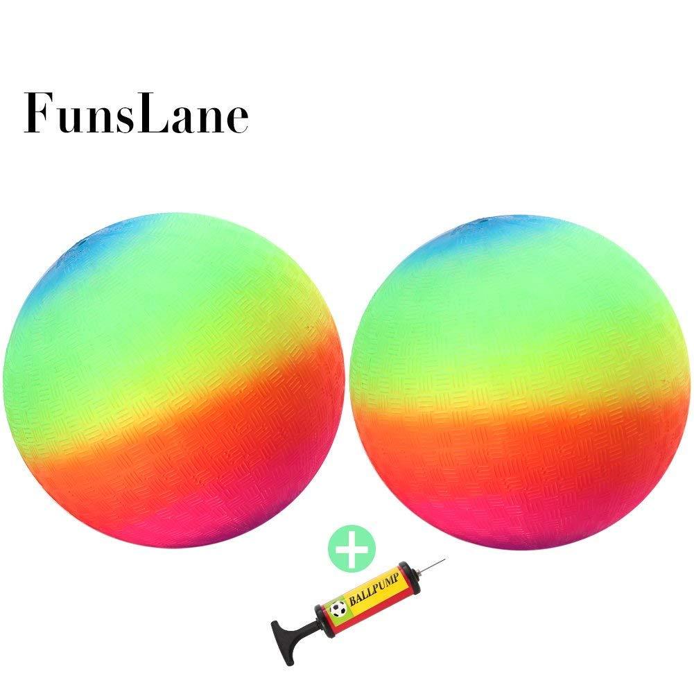 FunsLane 9'' Playground Rainbow Ball With 1pcs Pump (2 pack), Inflatable Dodge Ball Sport Balls Rubber Play Ball Handball for Kids Outdoor & Backyard Games, School & Gym Class
