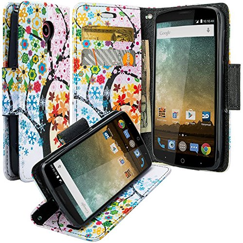 finest selection 374f6 8cf0a ZTE Uhura Case/ZTE Ultra Case/ZTE Quest N817 Case, Luxury Leather Case Flip  Cover with Card Slots Stand and Detachable Strap For ZTE Ultra/Quest, 4 ...