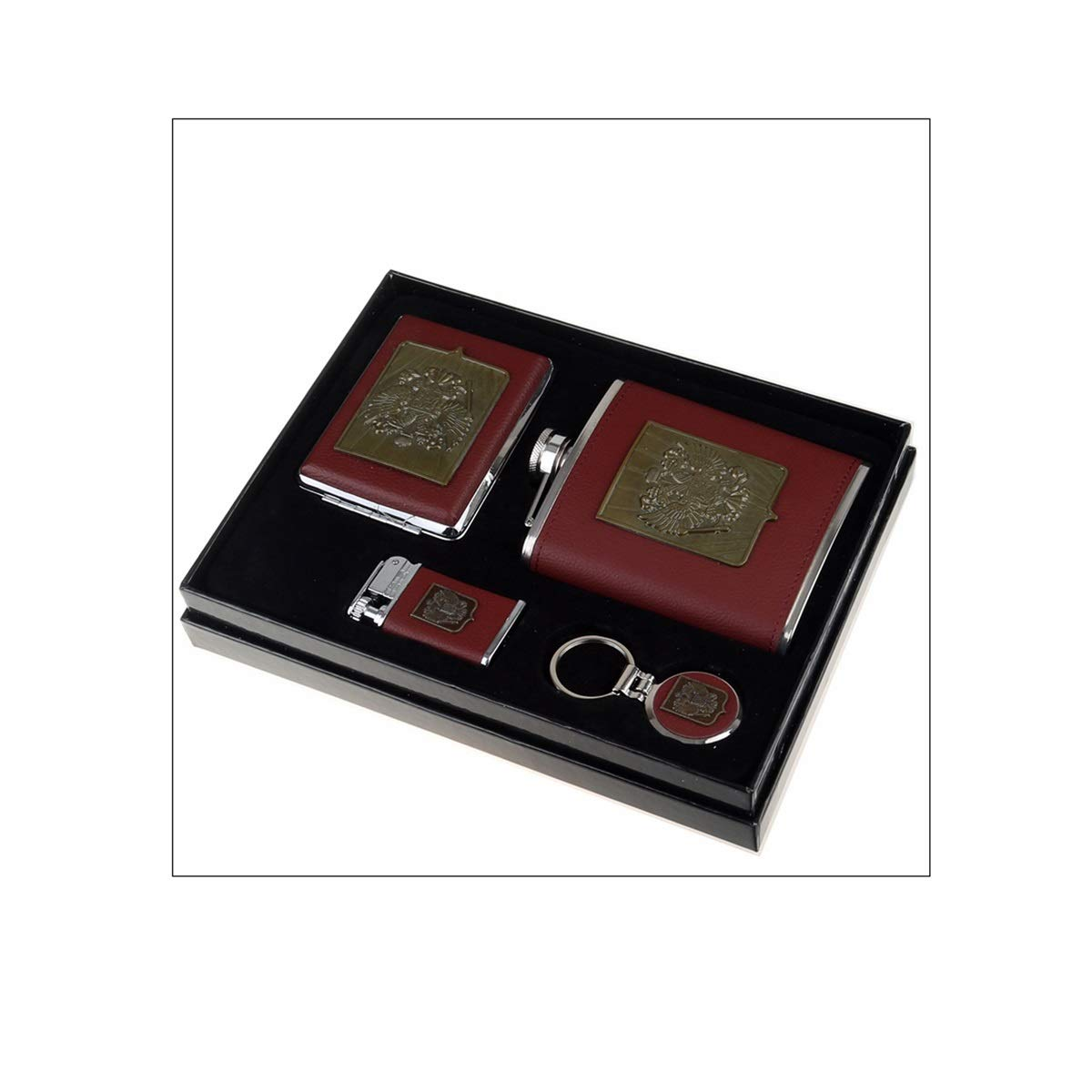 Huijunwenti Hip Flask Half A Catty 250 Ml Gift Box, 7 Ounces, Hip Flask Cigarette Case Key Ring Lighter 5 Piece Set Birthday Gift, Black, Brown Easy to Carry (Color : Brown)