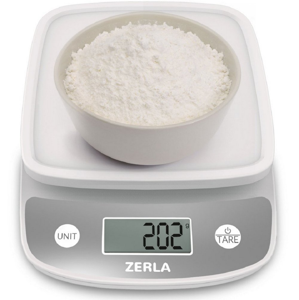 Digital Kitchen Scale by Zerla — Versatile Food Scale — Weigh Snacks, Liquids, Foods — Accurate Weight Scale within .05 oz. — Great for Adkins Diet, Weight Loss Programs & Portion Control