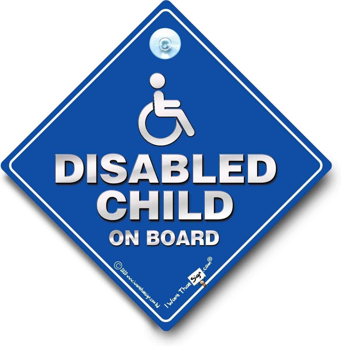 Disabled Child On Board colore argento e blu Cartello per auto con ventosa