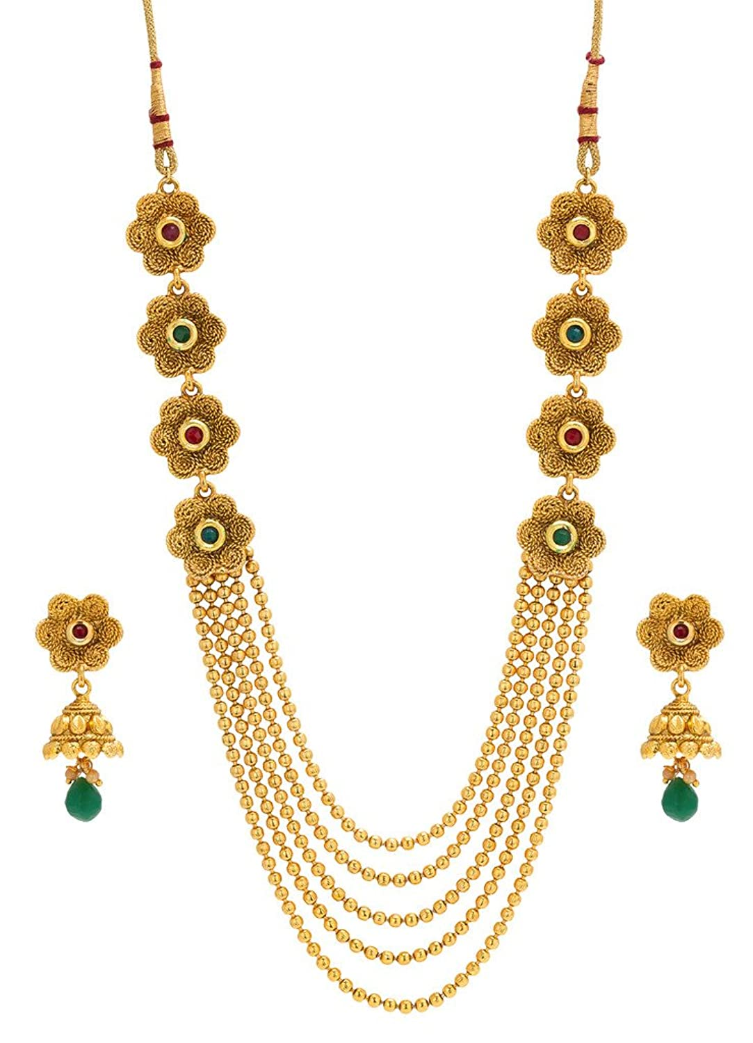 Bindhani Indian Bollywood Bridal Wedding Long Kundan Gold Plated Necklace Jewelry Set For Women