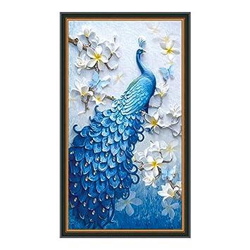 Exquleg Diamond Painting Diy 5d Diamant Malerei Dark Blue Peacock
