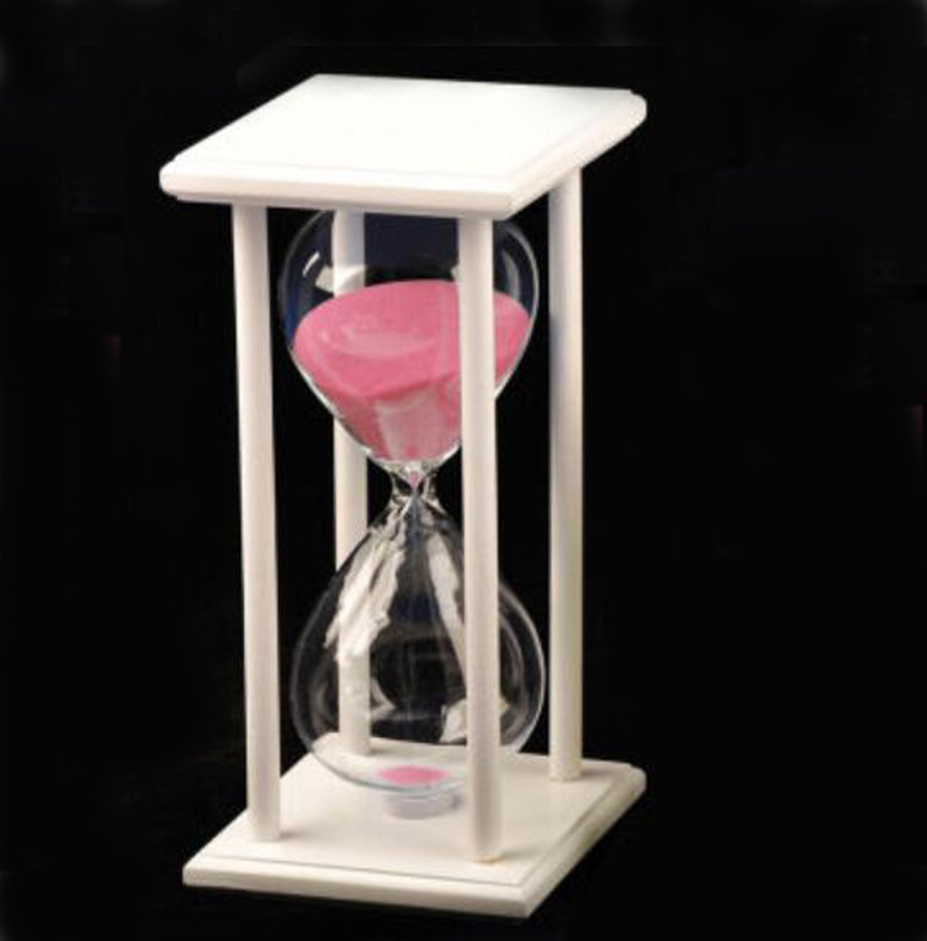 LiMeiW 30 minutes Hourglass Wooden sand Timer 45 Mins Home decoration Kitchen timer (45 minutes white box pink) by LiMeiW (Image #1)