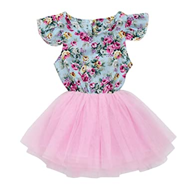 adb9e6e8bc Sagton Toddler Kids Princess Dress Baby Girls Clothes Floral Tulle  Patchwork Dress (Pink