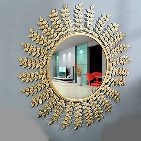 Furnish Craft Leaf Designed Wall Mirror for Home Decor, Living Room,  Bedroom, Bathroom Golden Leaf ,29 Inches (Upgraded)