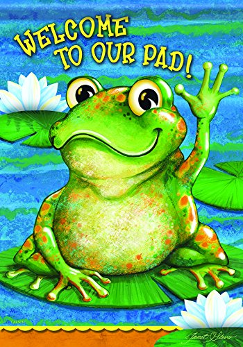 Carson Home Accents Flagtrends Classic Garden Flag, Welcome Friendly Frog