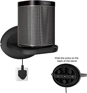 SPORTLINK Wall Mount Shelf for Sonos One (Gen 2), Sonos Play 1, Google Home Mini/nest Mini/Nest WiFi/Tenda Nova/Eco Dot/Security Cameras - A Space Saving Solution for Anything Up to 15 lbs-Black