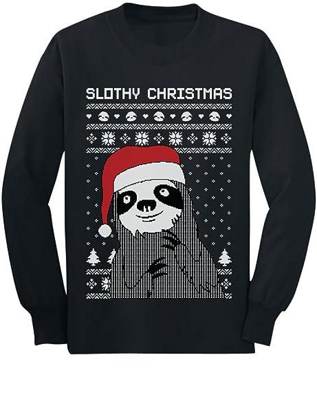 08e7e891 Amazon.com: Tstars Slothy Christmas Ugly Christmas Sweater Sloth Youth Kids  Long Sleeve T-Shirt: Clothing