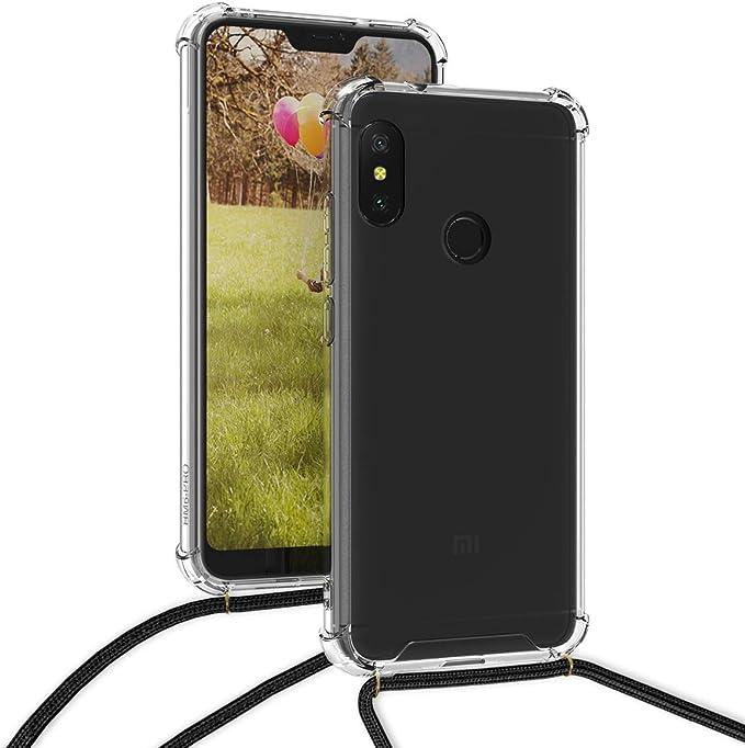 Bigcousin Funda con Cuerda Compatible con Xiaomi Redmi Note 8 Pro,Transparente de TPU con Ajustable Collar Cadena Cord/ón,Menta Verde