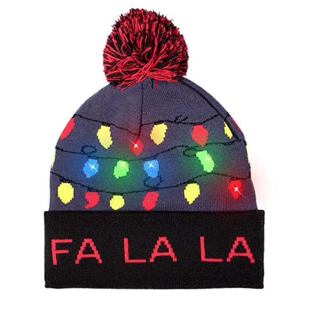0fdc30ee775 LED Light-up Knit Hat Ugly Christmas Sweater Xmas Beanie Caps Women Indoor  Outdoor