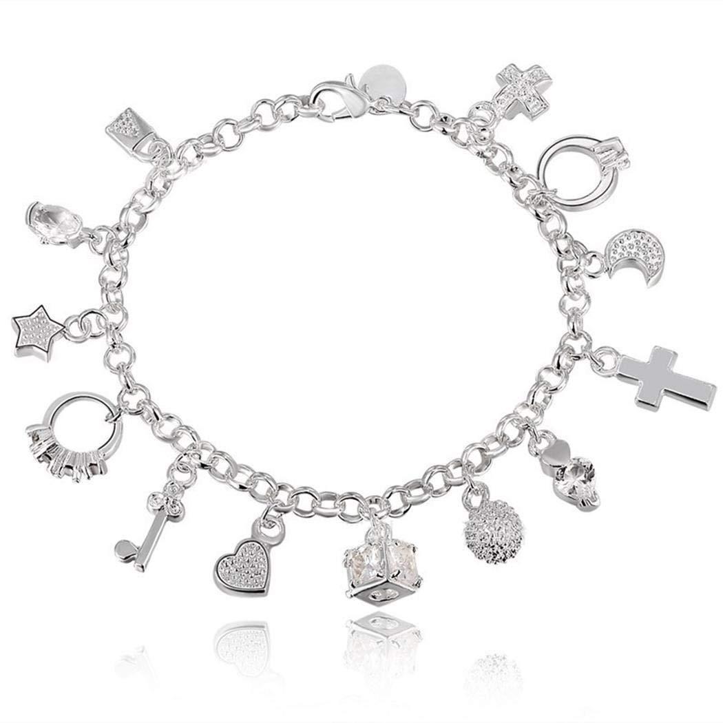 Jinguio Fashion Jewelry 925 Sterling Silver 13 Charm Pendants Chain Bracelets for Women