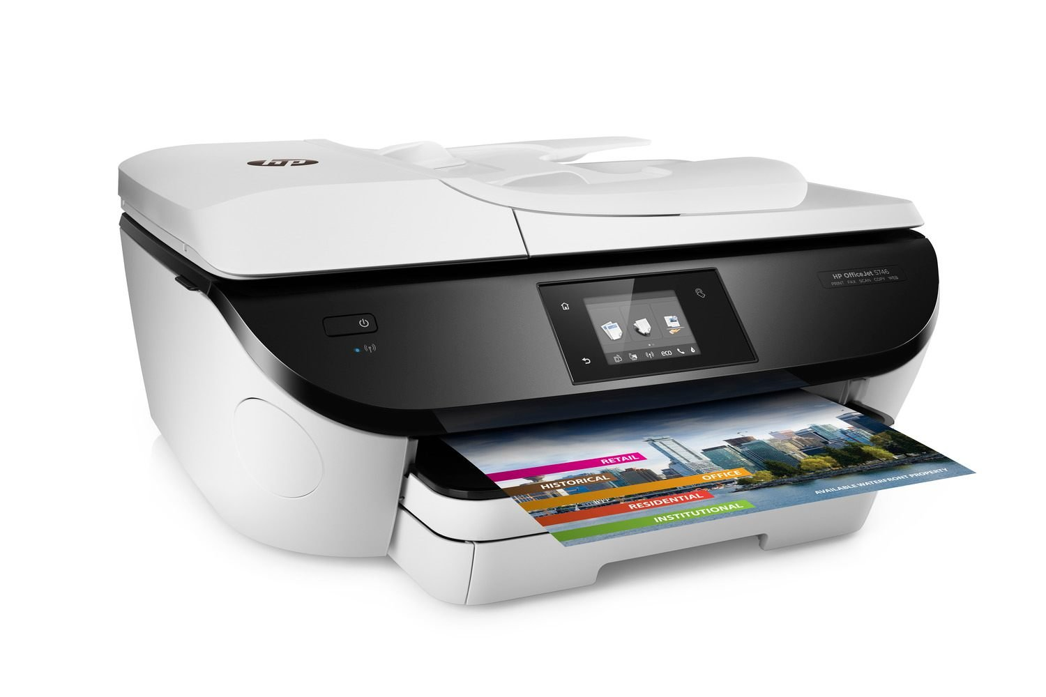 HP OfficeJet 5746 Wireless All-in-One Photo Printer with Mobile Printing in White (Renewed) by HP
