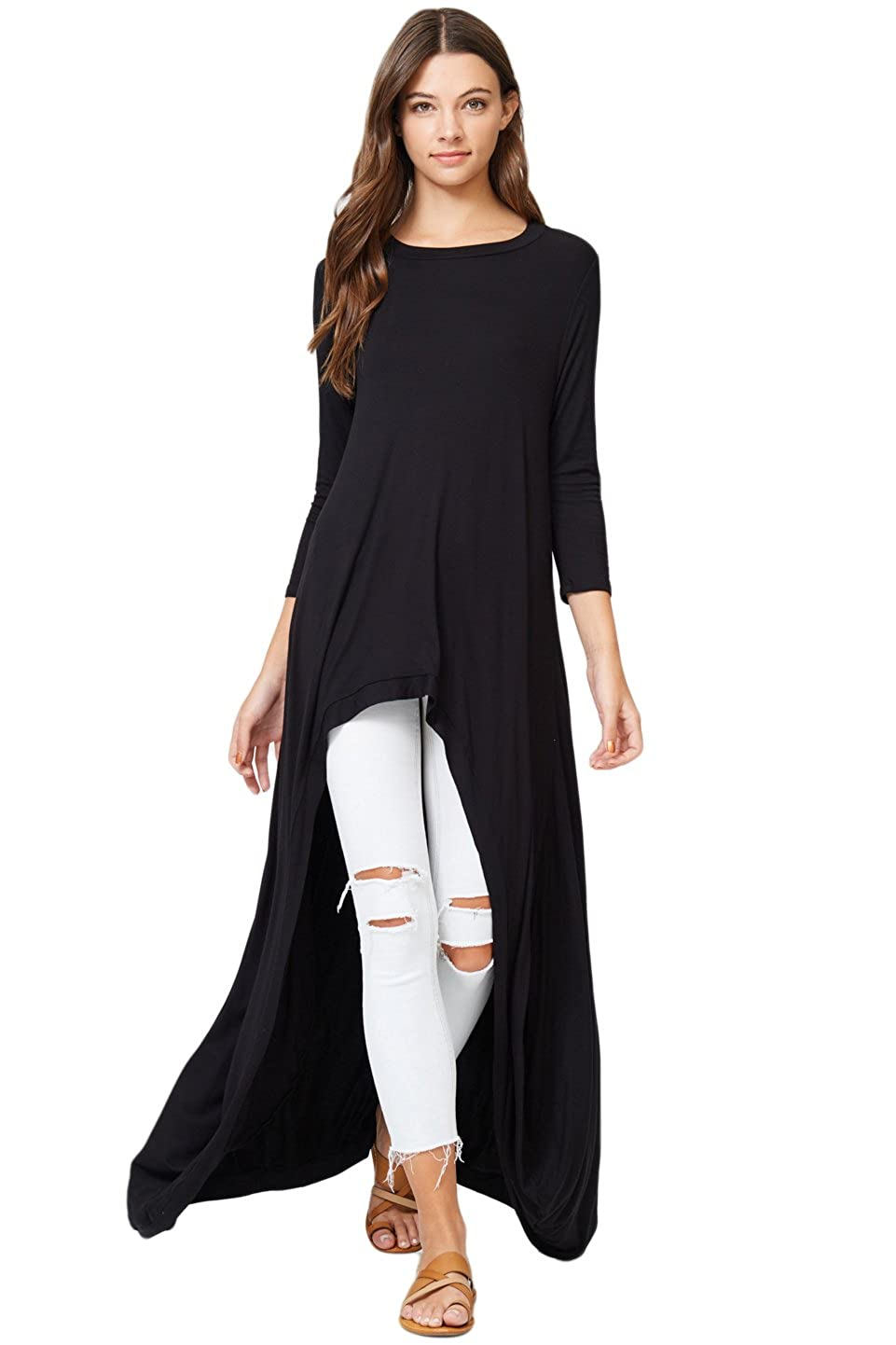 d1d065accd Annabelle 3 4 Sleeve High Low Casual Long Maxi Tunic Tops at Amazon Women s  Clothing store