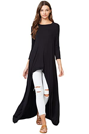cd30428b56c Annabelle 3 4 Sleeve High Low Casual Long Maxi Tunic Tops Black Small  Medium T1022C