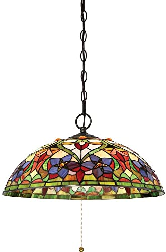Quoizel TFVT1820VB Violets Tiffany Bell Pendant Ceiling Lighting, 3-Light, 300 Watts, Vintage Bronze 10 H x 20 W
