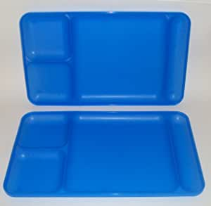 """Tupperware Large Divided Serving TV Tray Sturdy 15/"""" x 9/"""" Tropical Water New"""