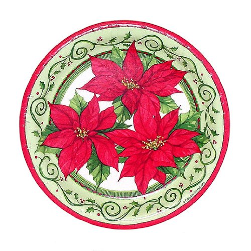 Holiday Paper Plates Each measures6 3/4u2033 in diameter. These are thick plates that are very durable. Contains 12 plates  sc 1 st  Flowers Wikii & Poinsettia Paper Plates - Flowers Wikii