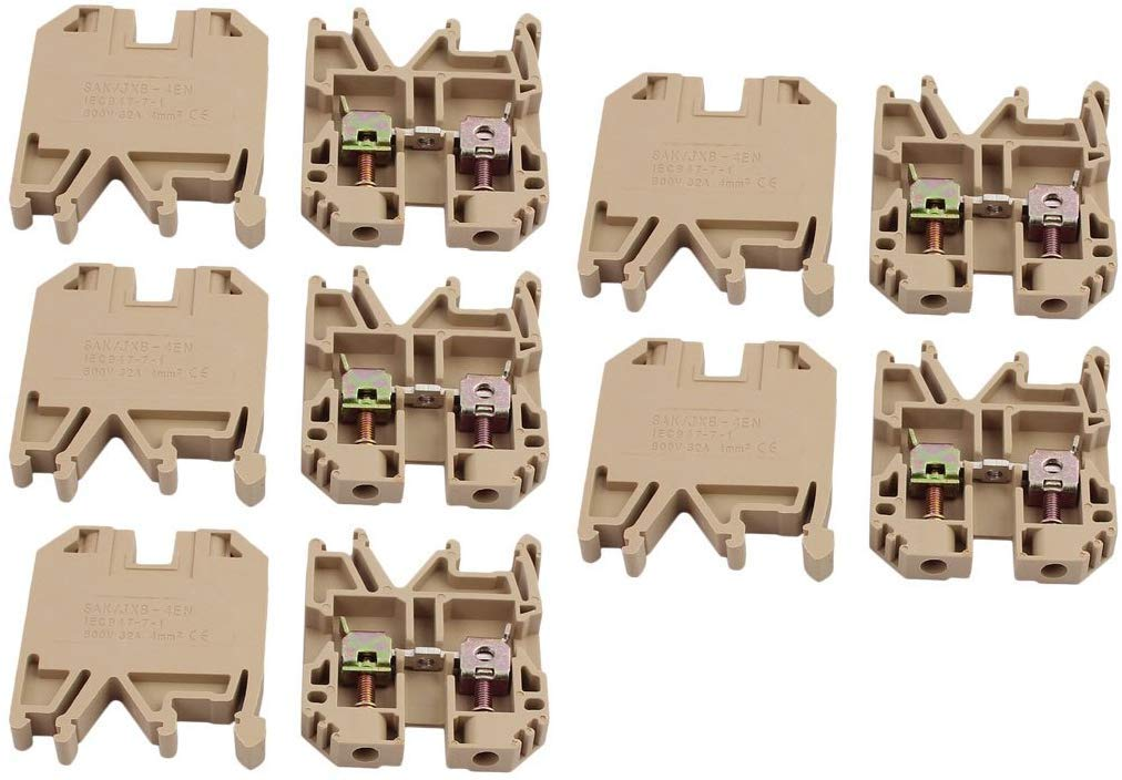 Fielect SAK 4EN 35mm 0.2-4mm2 DIN Rail Terminal Block Connector 800V 32A Beige 10 Pcs