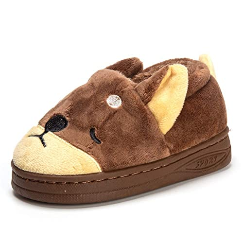 5faccf03bb30 MK MATT KEELY Doggy Toddler Little Kids Plush Slippers Boys Girls Winter  Warm Indoor Bedroom Shoes with Fur Coffee  Amazon.ca  Shoes   Handbags