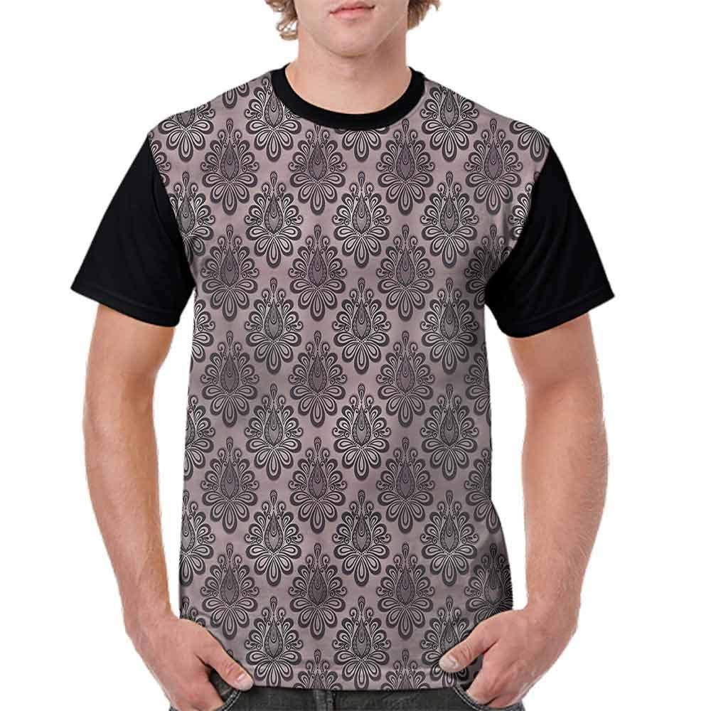 BlountDecor Casual Short Sleeve Graphic Tee Shirts,Damask Black Motifs Fashion Personality Customization