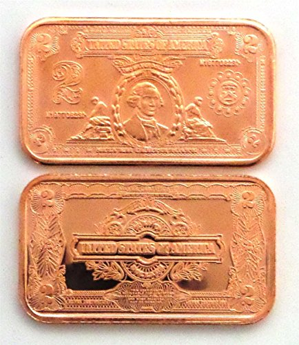 1 - $2 Porthole Deuce Silver Certificate | 1 AVDP oz .999 Fine Copper Ingot - - - Silver Certificate