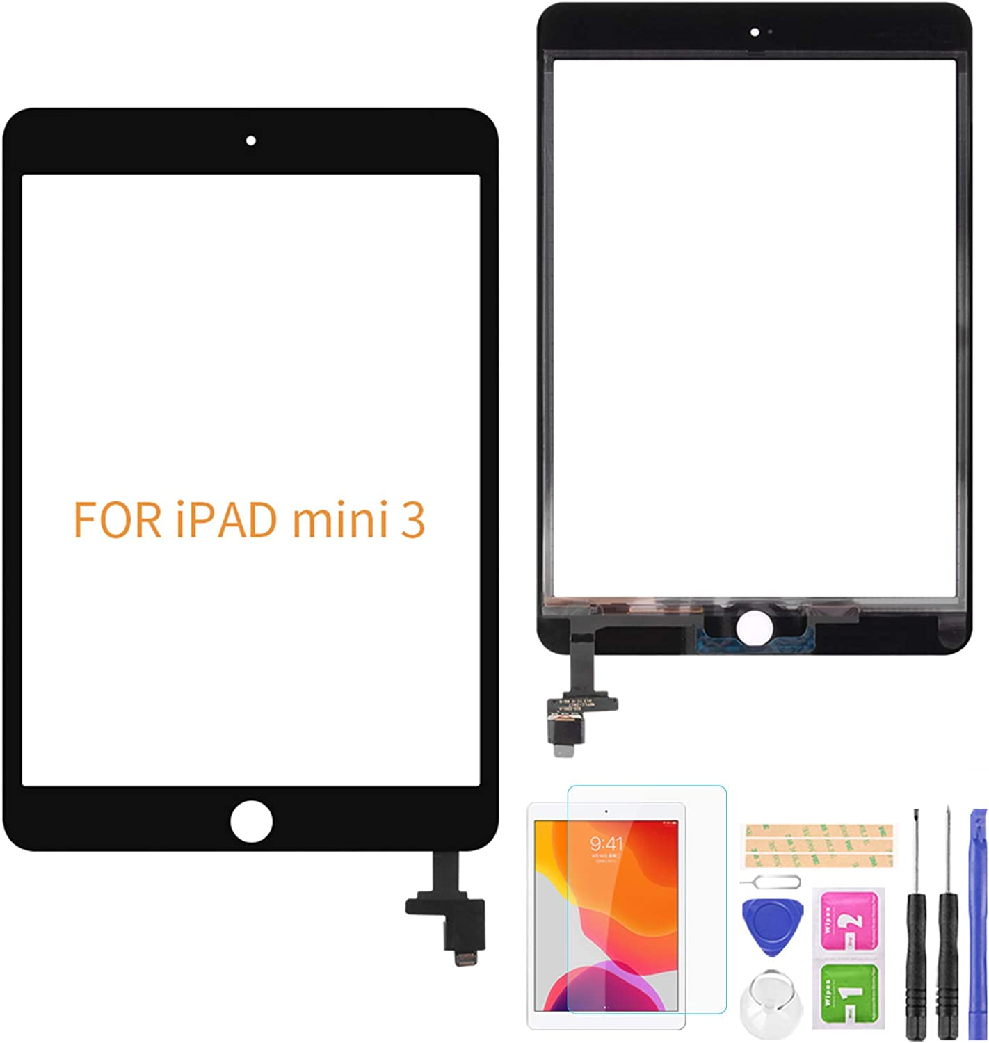 A-MIND for iPad Mini 3 A1599 A1600 Touch Screen Replacement(No Home Button) Front Glass Panel Replacement(No LCD, No Instructions with IC Chip & Tool Kits & Screen Protector (Black)