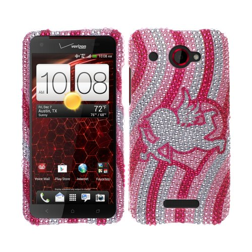 Fincibo (TM) HTC Droid DNA ADR6435 Incredible X Bling Crystal Rhinestones Hard Snap On Protector Cover Case - Pink Cupid Heart