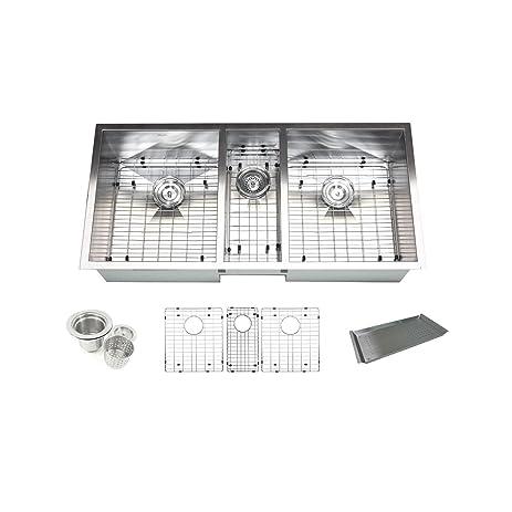 Contempo Living Inc Triple Bowl 42 Inch Stainless Steel Undermount Zero  Radius Kitchen Sink (
