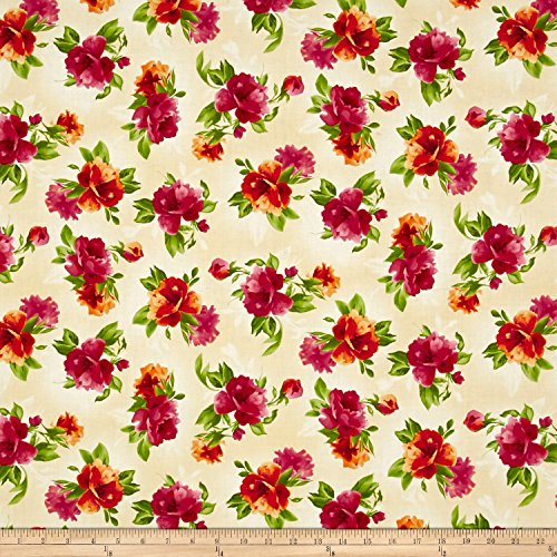 (Maywood Studio 0558395 Paradise Spaced Floral Cream Fabric by The Yard)