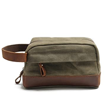 Amazon.com   AI Wash Bag Canvas Cosmetic Bag Leather Business Travel  Portable Suit Bag - For Men And Women For 4 Colors Size 23x9.5x13cm (Color    Green)   ... 5cba14690f