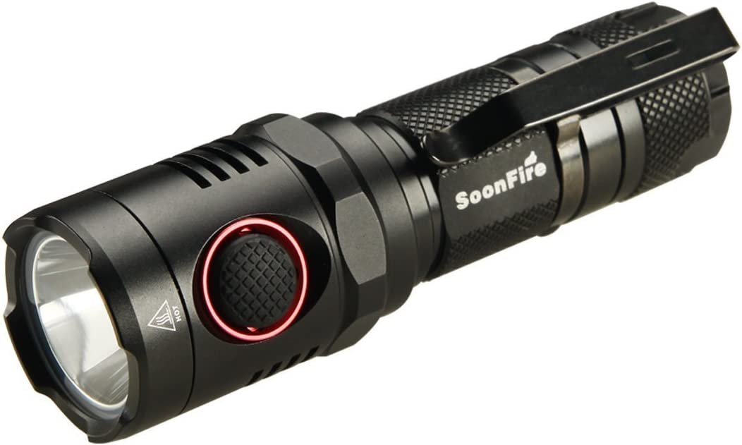 Soonfire NS17 USB Rechargeable Flashlight:Cree LED 1000 Lumen Waterproof Flashlight,18650 3400mAh Rechargeable Li-ion Batteries,Charging Cable and Holster